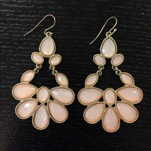 Jewelry - Beautiful Gold and Blush Chandelier Earrings NWOT